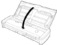 Close feed tray to power off scanner (R10)