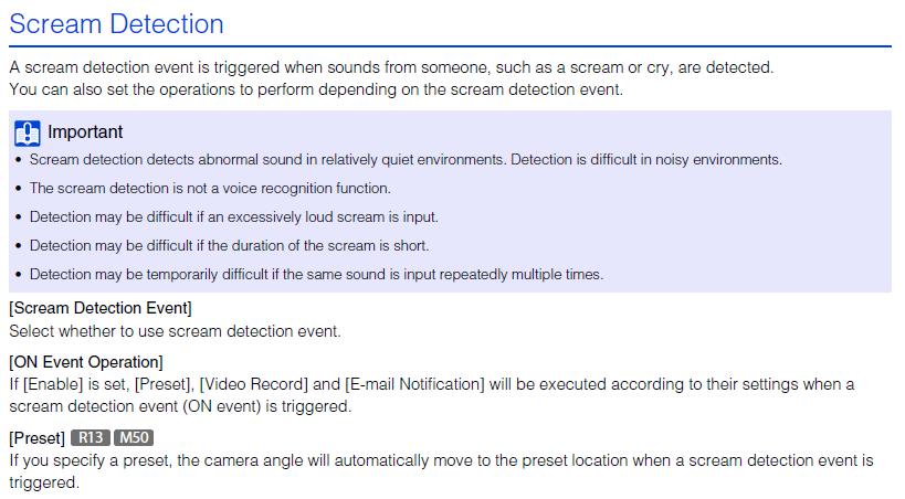 Canon Knowledge Base - [Event] > [Audio Detection] Abnormal