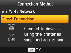 Connection Method screen: Direct Connection selected.