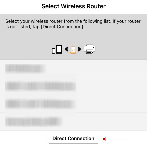 Select Wireless Routers screen, with Direct Connection chosen
