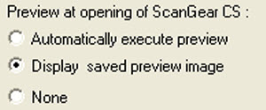 Options for Preview at the opening of ScanGear CS