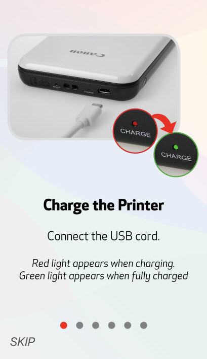 Image shows green light (printer charged), read light (needs to be charged)