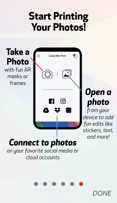 Start Printing Your Photos! Take a photo, Open a photo, connect to photos icons display.