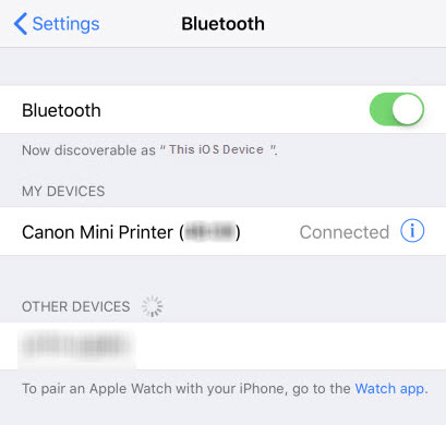Bluetooth settings screen shows Canon Mini Printer connected