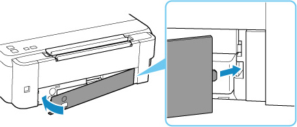 Align the tab on the back of the maintenance cover with the hole on the printer and close it