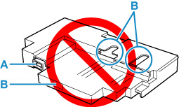 Don't touch the terminal (A) or opening (B) of the maintenance cartridge