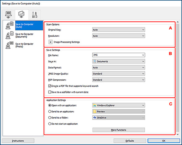 figure: Settings dialog box