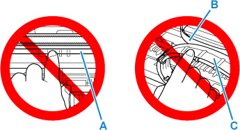 Don't touch the clear film (A), the white belt (B), or the tubes (C)