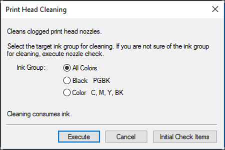 Print Head Cleaning dialog window
