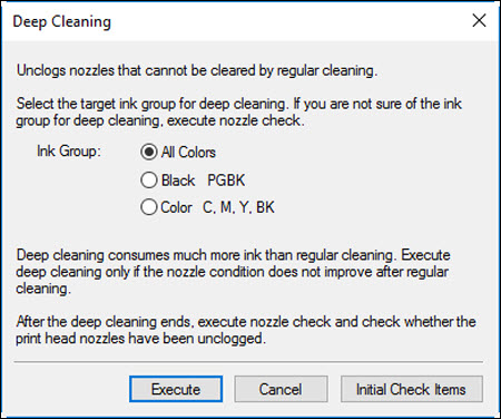 Deep Cleaning dialog box