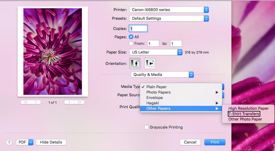 Canon Knowledge Base - Using T-Shirt Transfer Paper - iX6820