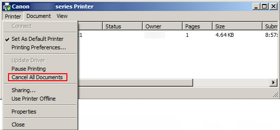 Image: Pinter Menu screen with Cancel All Documents highlighted in the drop down menu.