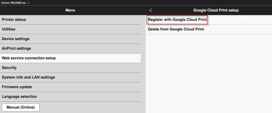 Register with Google Cloud Print selected.