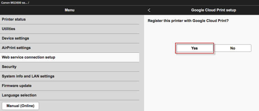 "Yes selected at ""Register the printer""? prompt."
