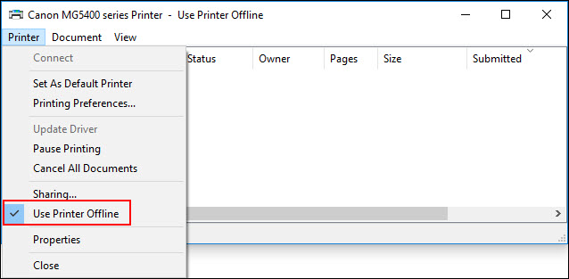 Check mark shown to the left of Use Printer Offline. This needs to be un-selected.
