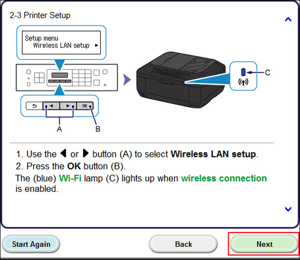 Select Wireless LAN setup on the printer, press the OK button on the printer, then click Next (outlined in red) to proceed