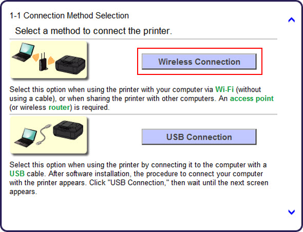 Click Wireless Connection (outlined in red) to proceed