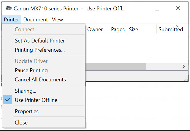 "Printer menu with ""Set As Default Printer"" checked"
