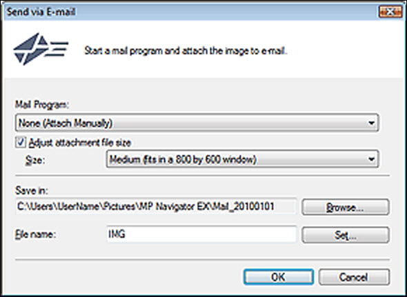 figure: Send via E-mail dialog box
