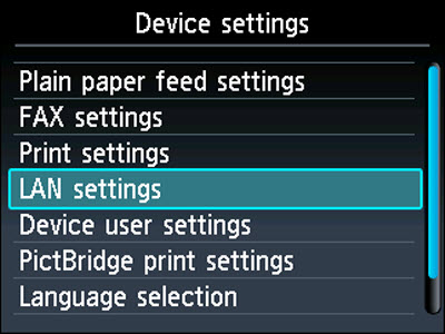 Device settings menu: LAN settings selected