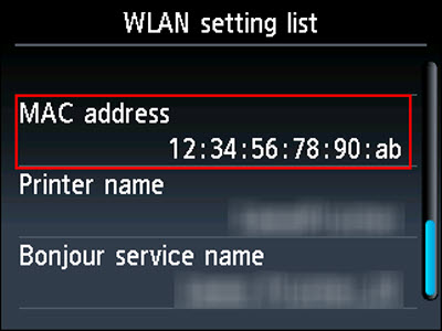 WLAN setting list screen: MAC address example outlined in red