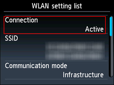 WLAN setting list screen: Connection is active