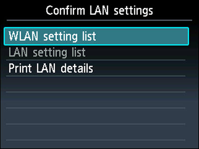 Confirm LAN settings screen: WLAN setting list selected