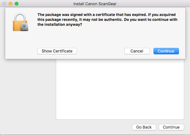 screen shot of the expired certificate notice window