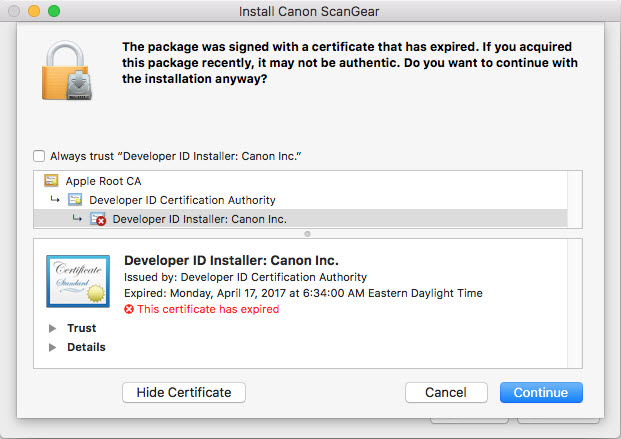 screen shot of the developer ID installer: Canon certificates
