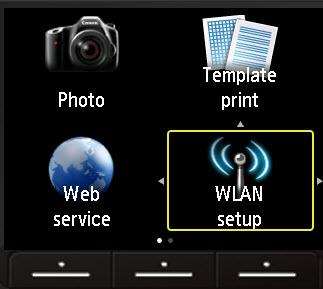 WLAN setup selected on printer menu - bottom right