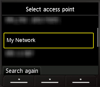 Select access point screen