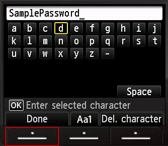 Character entry screen with password completed and Done highlighted
