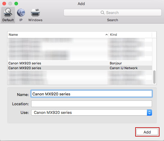 Add screen with Canon MX series under printer name and Use: drop-down