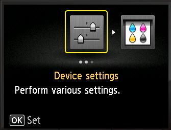 Device Settings selected