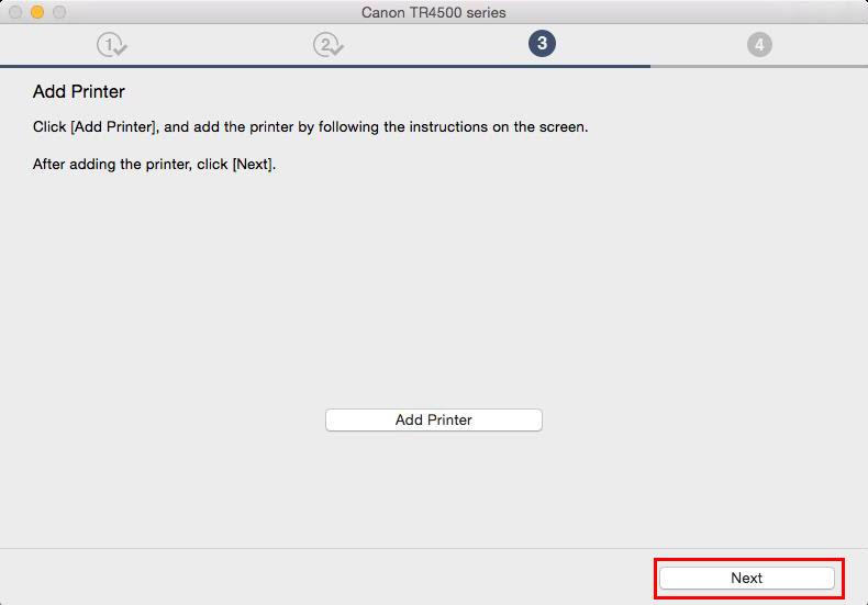 Add Printer screen, select Next