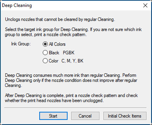 Select the Ink Group for deep cleaning