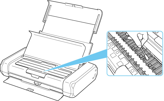 Figure: Wipe the protrustions inside the printer with a cotton swab (shown in inset)