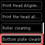 Figure: Select Bottom plate cleaning on the LCD (outlined in red)