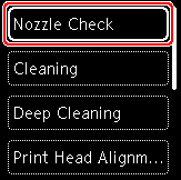 Figure: Printer LCD, Nozzle Check selected (outlined in red)