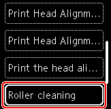 Figure: Select Roller cleaning on the LCD (outlined in red)