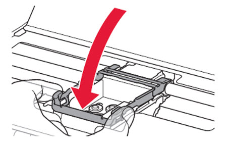 Hold both tabs on the print head lock lever, then lower it