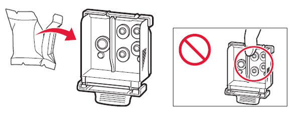 Figure: Remove the print head from its package. Don't touch the ink ports on the inside of the print head