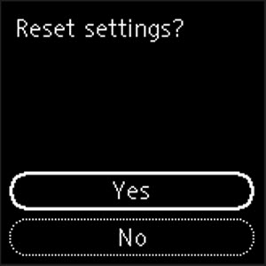 Prompt to confirm resetting the settings