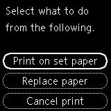 Select what to do on the printer's LCD