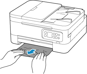 Pull out the cassette and remove the jammed paper slowly with both hands