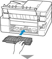 Insert the transport unit cover slowly all the way into printer and take down the transport unit cover