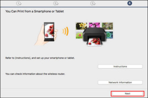 You Can Print from a Smartphone or Tablet: Click Next (outlined in red)