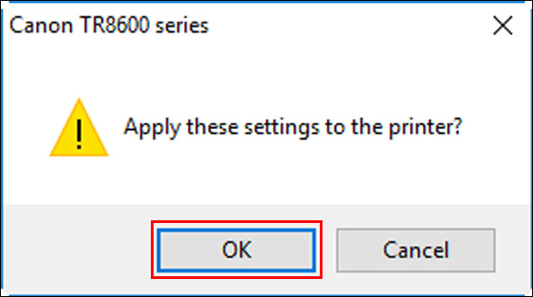 Click OK (outlined in red) to apply the settings change to the printer