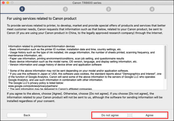 On the For using services related to Canon product screen, select Agree or Do not agree (outlined in red)