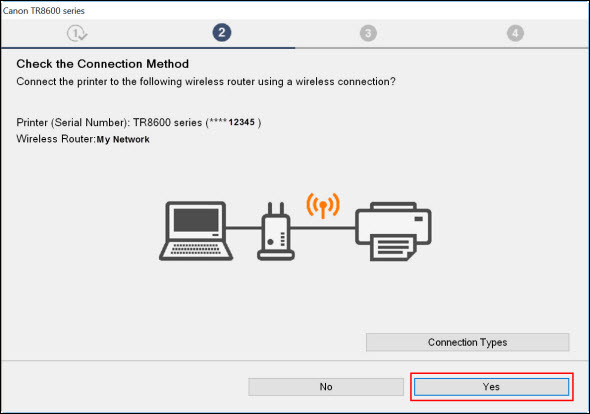 Setup connection screen with Yes selected